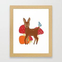 Brown Deer and Blue Butterfly Autumn Design Framed Art Print