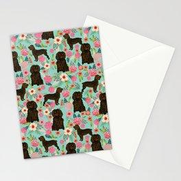 Boykin Spaniel custom dog breed floral pattern print by pet friendly dog art pet portraits Stationery Cards