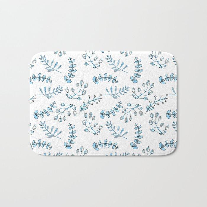 Seamless watercolor blue flowers pattern Bath Mat