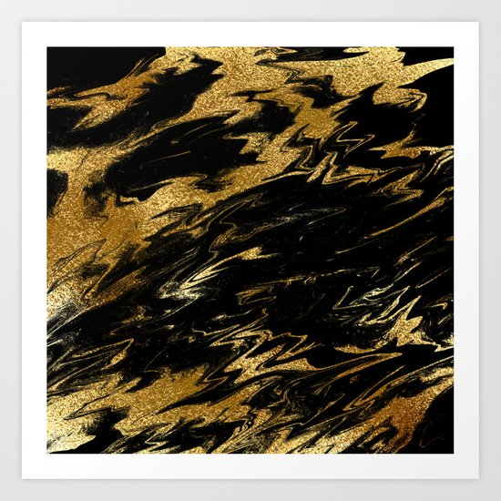 Luxury and sparkle gold glitter and black marble on #Society6 Art Print