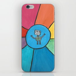 Love Robot in a Circle of Rainbow Rays iPhone Skin