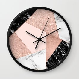 Modern rose gold glitter black white marble geometric color block Wall Clock