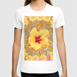 Golden Yellow Red Tropical Hibiscus Patterns T-shirt