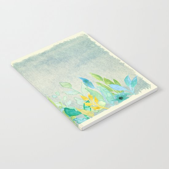 flowers in a meadow - Floral watercolor illustration Notebook