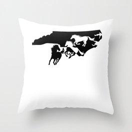North Carolina Colonial Spanish Horse Lover Black Throw Pillow