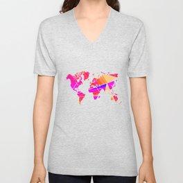 Reflections world map Unisex V-Neck