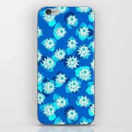 Water Lily Pattern, Turquoise, Blue and White iPhone Skin