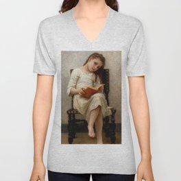 """William-Adolphe Bouguereau """"Le Livre De Prix (The Price Book)"""" Unisex V-Neck"""