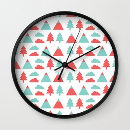 Pines, mountains & clouds Wall Clock