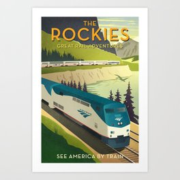 Vintage style train poster Art Print