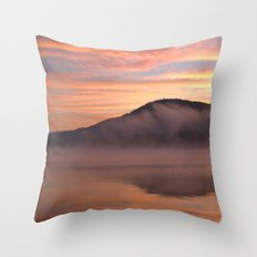 Fire in the Morning on Lake George) Throw Pillow