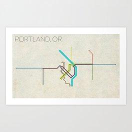 Minimal Portland, OR Metro Map Art Print
