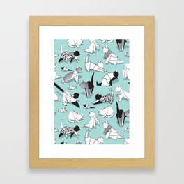 Origami kitten friends // aqua background paper cats Framed Art Print