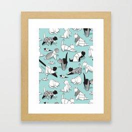Origami kitten friends // aqua background paper cats Framed Art Print