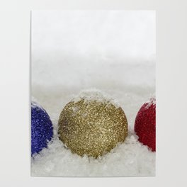 Christmas Baubles Sprinkled With Snow Poster