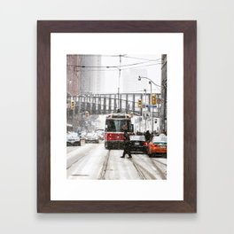 Snowy day in Toronto Framed Art Print