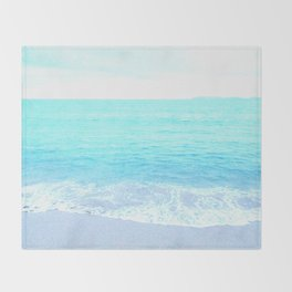 Emerald Blue wave Summer Sea Beach Throw Blanket