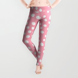 Bright pink and white doodle dots Leggings