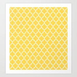 White Moroccan Quatrefoil On Mustard Yellow Art Print