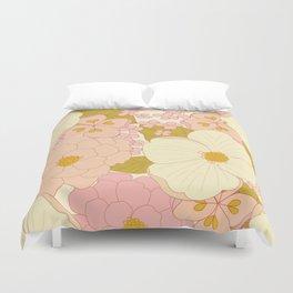 Pink Pastel Vintage Floral Pattern Duvet Cover