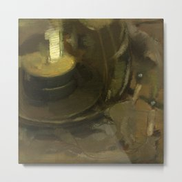 Olive Green Abstract Realistic Impressionistic Painting Still Life Tealight Lamp and Feathers Metal Print
