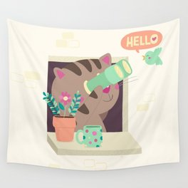 Hello Cat Wall Tapestry