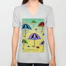 Colorful umbrellas flying in the sky Unisex V-Neck