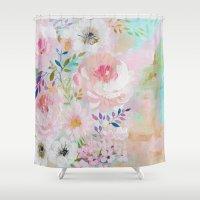 craftberrybush Shower Curtains featuring Acrylic rose garden  by craftberrybush