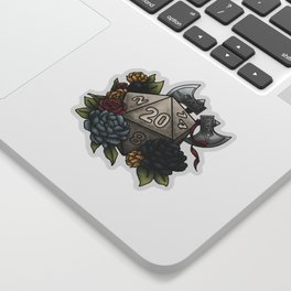 Barbarian Class D20 - Tabletop Gaming Dice Sticker