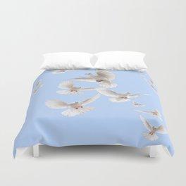 WHITE PEACE DOVES IN SKY BLUE COLOR Duvet Cover