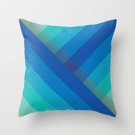 Stripes (blue/aqua) Throw Pillow