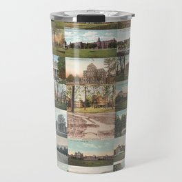 Kirkbride Asylum Vintage Postcard Collage Travel Mug