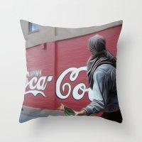 coca cola Throw Pillows featuring Coca Cola Wars by Vin Zzep