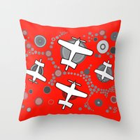 airplanes Throw Pillows featuring airplanes in red by Isabella Asratyan