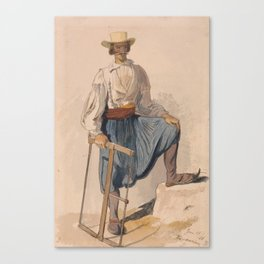 Greek Woodcutter, June 13 by Edward Lear Canvas Print
