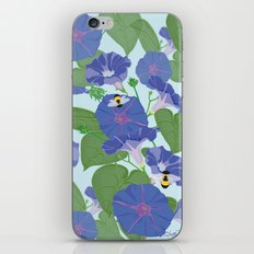 Glory Bee - Vintage Floral Morning Glories and Bumble Bees iPhone & iPod Skin