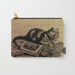Vintage Cat Collage-Grunge Background Carry-All Pouch
