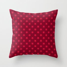 Crimson Red on Burgundy Red Stars Throw Pillow