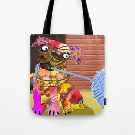 Fractimal Dog - Pug pulling on a ball of Yarn in front of a fireplace. Tote Bag