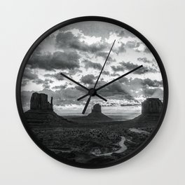Southwest Wanderlust - Monument Valley Sunrise Black and White Wall Clock