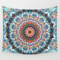 mandela Wall Tapestries featuring Kaleidoscopic Mandala by Phil Perkins