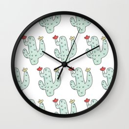 Cactus party print Wall Clock