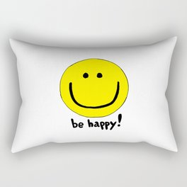 Be Happy Smiley Face Rectangular Pillow