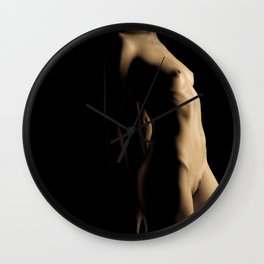Naked woman body painted by soft glowing lines Wall Clock