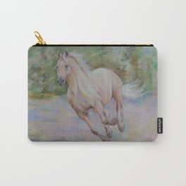Palomino horse galloping Pastel drawing Horse portrait Equestrian decor Carry-All Pouch