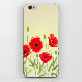Watercolor poppies iPhone Skin