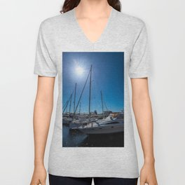 Yachts in the marina Unisex V-Neck