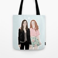 lydia martin Tote Bags featuring Cora Hale/Lydia Martin by vulcains
