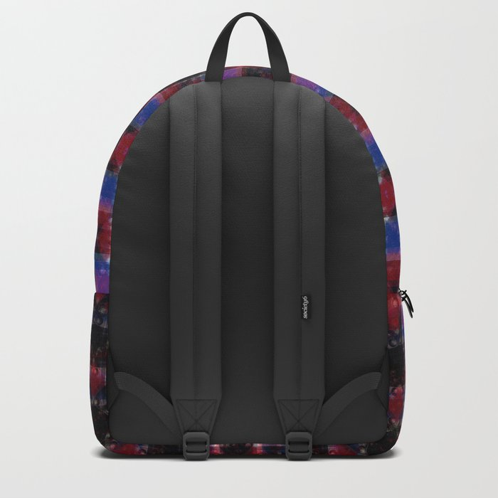 Cart Handle Semi-Plaid In Red, Pink, Blue, and Black Backpack