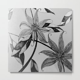 garden in black and white Metal Print